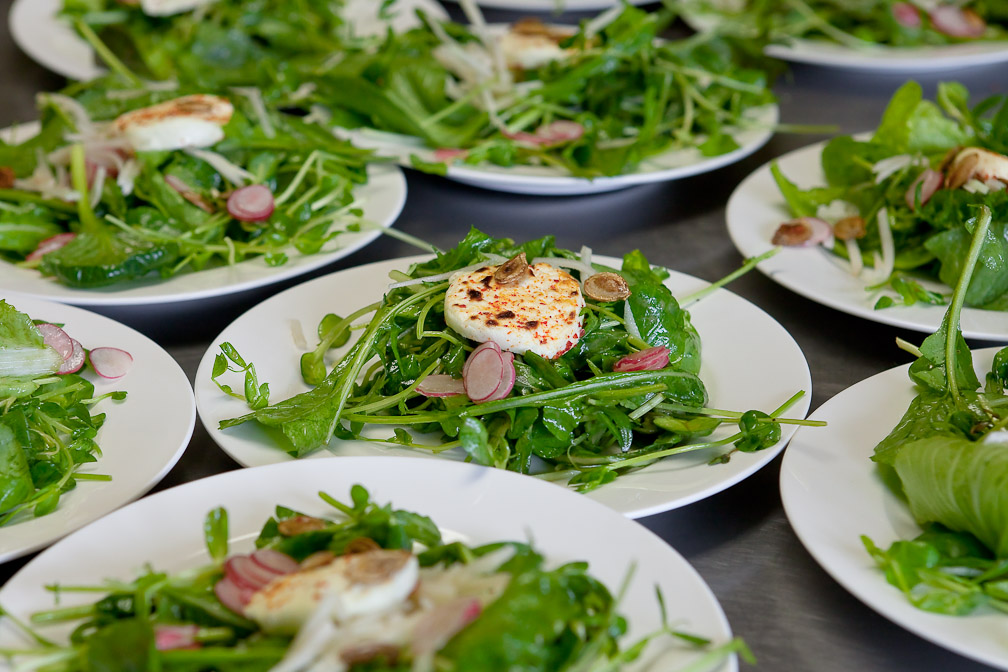 Mixed green salad with herbs warm goat cheese medallion and roasted pumpkin seeds & What a Dinner at the Farm! | Bradley Farm | Growing in New Paltz NY ...