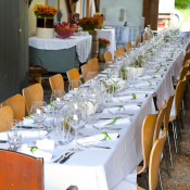 The communal table in the barn