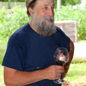 Ray, pausing to enjoy some wine