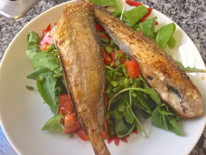 Fried Fish over Garlic Scape, Tomato and Baby Arugula Salad